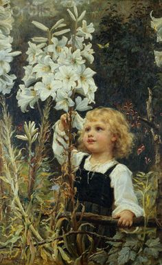 """Lilies"" -- by Frederick Morgan (1847 – 1927, English)"
