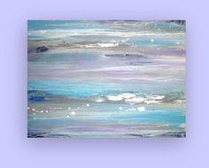 Pintura abstracta acrílica azul y gris original por OraBirenbaumArt