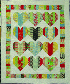"""Heart Strings quilt project at Quilt Beginnings.  Made with 2.5"""" strips."""