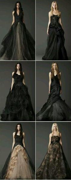 Vera Wang Black Wedding Gowns, never, yet sooo gorg. Black Wedding Dresses, Wedding Gowns, Vera Wang Wedding, Pnina Tornai, Gothic Wedding, Wedding Styles, Wedding Ideas, Wedding Pictures, Wedding Details