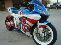 custom cbr 600- #captain America #motorcycle THE MOST AWESOME THING EVER!!!!!!!!! SOMEONE MAKE A BOBA FETT ONE!!!!!!!!!