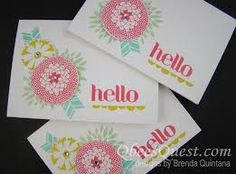 """handmade notecard set ... Petal Parade .... like the pattern using stamps from the set ... fun cards ... """"hello"""" greeting .... Stampin'Up!"""