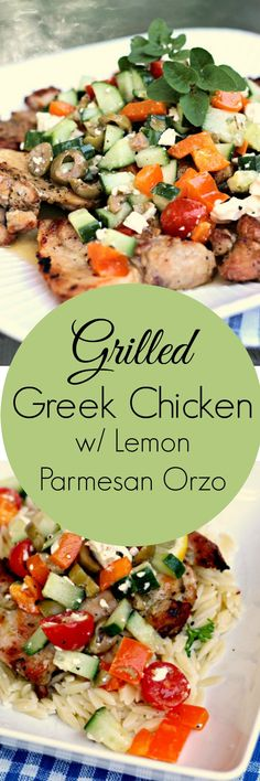 Grilled Greek Chicken Thighs w/ Lemon-Parmesan Orzo | Renee's Kitchen Adventures Healthy recipe for easy chicken meal great for weeknight dinners!