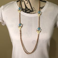 SALE Blue, Yellow & Gold Necklace Super cute. Only worn a couple times. All crystals are intact, back clasp is a little tarnished. Charming Charlie Jewelry Necklaces