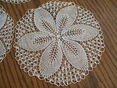 "Vintage Hand Crocheted Round Doilies 3 Available Flower Petal Center 10"" Diameter Hand Made Stitched Shabby Chic Table Top Center Doily by FabVintageEstates on Etsy"