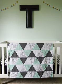 Blue Triangle Quilt Blanket Blue Teal Grey Black Dot by ModFox