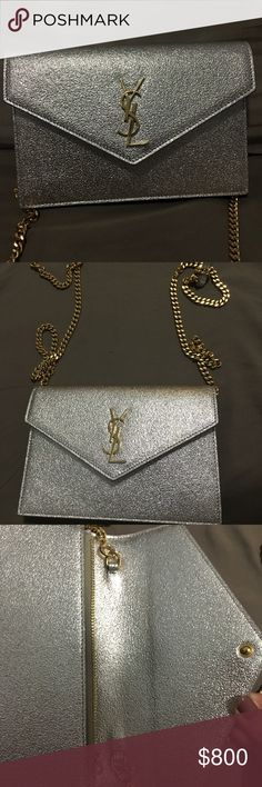Auth YSL Textured Metallic Gold Envelope Crossbody 89da9693a2503