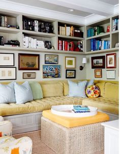 couch under bookcase & Small Den Design Ideas...cute...love the use of a small space ...