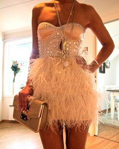 dress w/ studded bustier top & feather skirt