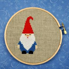 Gnome, cross stitch (I like him, but I would maybe change his colors)
