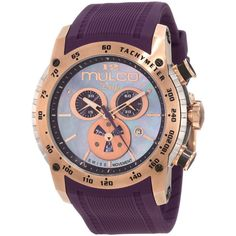 Deep Blue Mother of Pearl Dial Chronograph Purple Silicone Unisex Watch
