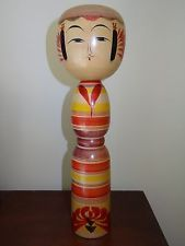 """Japanese wooden painted doll Kokeshi vintage 12"""" tall signed"""