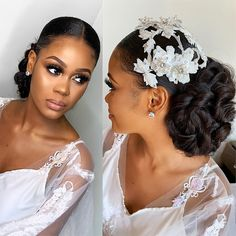 "Healthy Hair Experts on Instagram: ""The beautiful bride who left us all breathless.  Every photo taken was followed with a WOW.  Too beautiful.  We will not forget…"" Natural Hair Wedding, Natural Wedding Hairstyles, Natural Hair Updo, Natural Hair Styles, Hairstyle Wedding, Black Brides Hairstyles, Bride Hairstyles, Pretty Hairstyles, Bridal Makeup Looks"