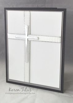 elegant silver foil cross card from Cross of Hope dies Confirmation Cards, Baptism Cards, Easter Cards Religious, First Communion Cards, Christian Cards, Wedding Anniversary Cards, Get Well Cards, Scrapbook Cards, Scrapbooking