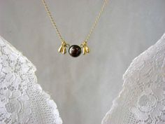 Dark pearl and golden drops gold fill necklace