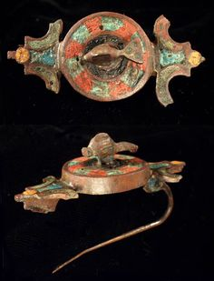 Roman bronze fibula 2nd c. AD, enamel and turquoise inlay. Rhineland discovery.