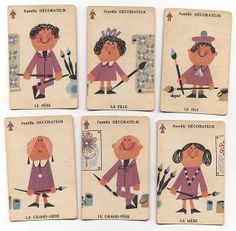 Vintage French Cards with Sweet Illustrations.