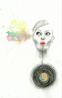 Eat music, watercolor, pencil