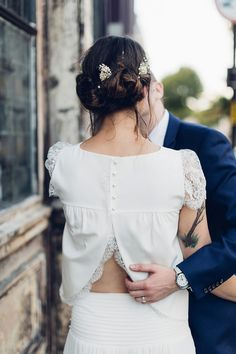 Crop Top Wedding dress // Laure-de-Sagazan-Lace-Sleeve-Crop-Top-Dress-Separates-Londonbride