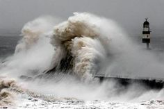 Lighthouse in the North Sea getting pounded by waves and 130 km/h winds
