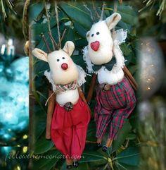 Set of 2 Christmas Ornament Rudolph Red Nose Reindeer Cloth Sticks Jingle Bells