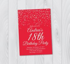 Any Age Birthday Invitation Printable Silver Red E Card Surprise Party 1821304050 By