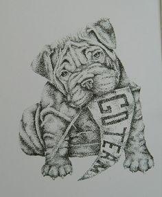 Black and White Print Of Bulldog Go Team for Home by ViviansART