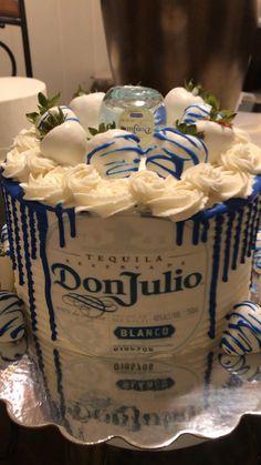 21st Birthday Cake For Guys, Alcohol Birthday Cake, Alcohol Cake, Creative Birthday Cakes, Birthday Cakes For Men, Birthday Cupcakes, Birthday Ideas, Tequila Cake, Liquor Cake