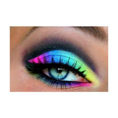 Rainbow makeup | Makeup ❤ liked on Polyvore featuring beauty products, makeup, eye makeup, eyes and rainbow