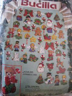 Bucilla FELT Holiday APPLIQUE ORNAMENT KIT,LOTSA CHRISTMAS,25 Designs,Set of 50! #Bucilla