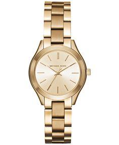 63b33f1a237fb Michael Kors Women s Mini Slim Runway Gold-Tone Stainless Steel Bracelet  Watch 33mm MK3512 Damas