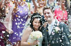 Confetti at Poole Hotel wedding. Photography by one thousand words wedding photographers