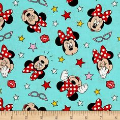 Disney Minnie Mouse Traditional Minnie Being Silly Teal Cotton Quilting Fabric YARD - jrs fabrics Minnie Mouse Background, Fabric Display, Disney Fabric, Fancy Buttons, Pennant Banners, Mickey Minnie Mouse, Joanns Fabric And Crafts, Fabric Design, Printing On Fabric