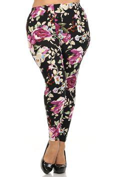 Black Rose Design Plus Size Leggings – Niobe Clothing