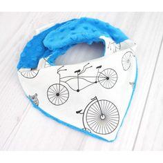 """Apaszka Minky, dla Dzieci i Niemowląt """"Funny Bicycles"""".  Jedna strona wykonana jest z najwyższej jakości 100%  bawełny, druga z bajecznie mięciutkiego kolorowego pluszu minky."""