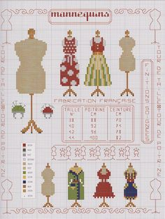 0 point de croix mannequins de couture - cross stitch antique dress forms