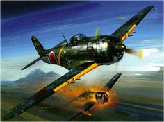 Kawanishi N1K2-J-Shiden Kai (George) downs a F6F Hellcat