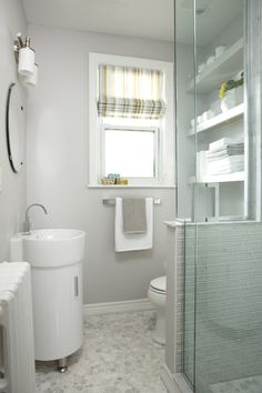 Narrow Bathroom with tons of storage. Small sink creates more floor space while… Narrow Bathroom with tons of storage. Small sink creates more floor space while the shelves above the toilet provide needed storage. Bathroom Windows, Bathroom Renos, Bathroom Renovations, Bathroom Furniture, Bathroom Wall, Bathroom Storage, Bathroom Layout, Master Bathroom, Alcove Storage