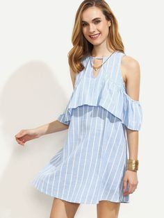 17$  Watch now - http://diyfc.justgood.pw/go.php?t=3621 - Blue Striped Cutout Ruffle Cold Shoulder Dress 17$