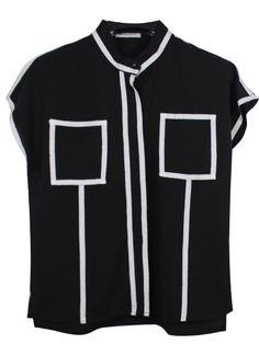 Black High Neck Short Sleeve Chiffon Shirt