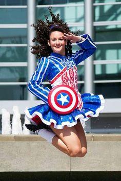 "damhsabanrion: "" omg, Sara in her AMAZING Captain America dress from Elevation! I want an Elevation so badly. Irish Step Dancing, Irish Dance, Celtic Dress, Irish Girls, Medieval Fashion, Dance Fashion, Girl Dancing, Dance Dresses, Dance Costumes"