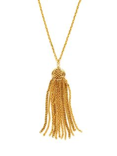 Ben-Amun Gold Cut Out Tassel Pendant Necklace