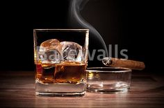 """""""Whiskey drink with smoking cigar on wooden table"""" - Bar and Man Cave Decor available at Barewalls.com"""