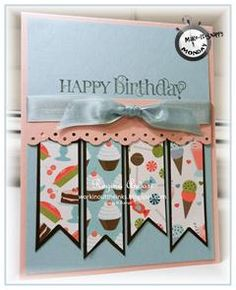 "Must try a ""banner"" card as they are the rage right Handmade Birthday Cards, Happy Birthday Cards, Greeting Cards Handmade, Bday Cards, Card Sketches, Invitation, Copics, Card Tags, Kids Cards"