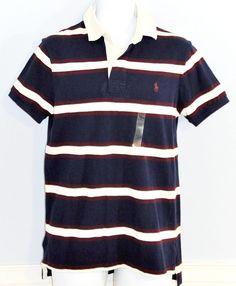 046b3853e6d RALPH LAUREN Men s Polo Shirt Navy Cream Burgundy Striped Medium Custom Fit  NWT