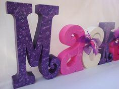 Custom Wood Letters for Little Girl Decor by thepatternbag on Etsy, $108.00