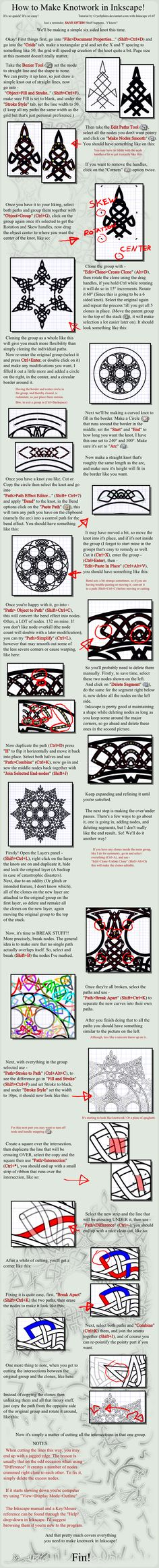 Knotwork Tutorial for Inkscape. This could be done in either Illustrator or Photoshop as well - the principals are the same.