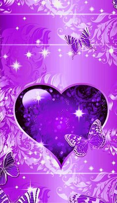 Purple Hearts and butterflies. Flowery Wallpaper, Butterfly Wallpaper, Love Wallpaper, Heart Iphone Wallpaper, Cellphone Wallpaper, Purple Love, All Things Purple, Cool Backgrounds Wallpapers, Pink Lila
