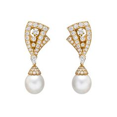 """""""Lamballe"""" diamond and pearl drop earrings, set with circular-cut diamonds weighing approximately 5.92 total carats and pear-shaped diamonds weighing approximately 0.98 total carats, mounted in 18k yellow gold, suspending two pear-shaped cultured pearl drops weighing approximately 40.33 total carats   Betteridge"""