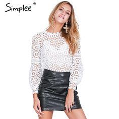Simplee 우아한 꽃 레이스 블라우스 셔츠 여성 랜턴 소매 화이트 블라우스 2016 가을 겨울 중공 짧은 탑 블라우스 blusas
